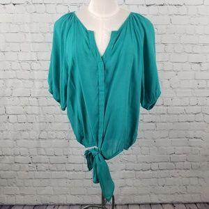 HEART SOUL | sheer flowy teal v-neck blouse